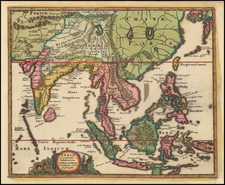 China, India, Southeast Asia, Philippines and Other Islands Map By Philipp Clüver