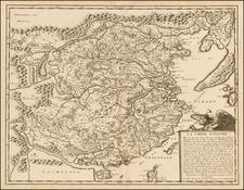 China and Korea Map By Nicolas Sanson