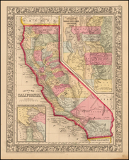 County Map of California (with large inset of Great Salt Lake Country) By Samuel Augustus Mitchell Jr.