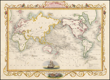 The World on Mercators Projection Shewing the Voyages of Captain Cook Round the World By John Tallis