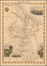 South America and Guianas & Suriname Map By John Tallis