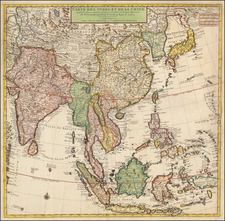 China, Japan, Korea, India, Southeast Asia and Philippines Map By Johannes Covens  &  Cornelis Mortier