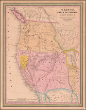 Southwest, Rocky Mountains, Oregon and California Map By Samuel Augustus Mitchell