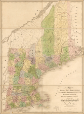 New England and Maine Map By David Hugh Burr