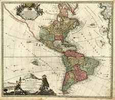 South America and America Map By Johann Baptist Homann