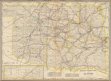 Plains, Oklahoma & Indian Territory and Southwest Map By George F. Cram