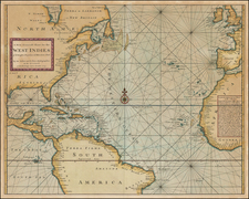 Atlantic Ocean, United States, Southeast, North America, Caribbean and West Africa Map By Charles Price  &  Jeremiah Seller