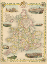 England Map By John Tallis