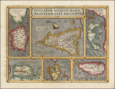 Italy, Mediterranean, Balearic Islands and Greece Map By Abraham Ortelius