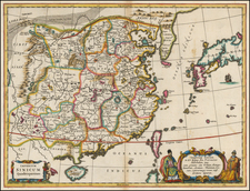 China, Japan and Korea Map By Athanasius Kircher