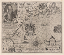 New England and Maine Map By John Smith