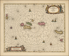 Atlantic Ocean, Portugal, Balearic Islands and African Islands, including Madagascar Map By Peter Schenk  &  Gerard Valk