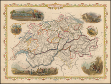 Switzerland Map By John Tallis