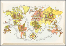World and World Map By Pan American World Airways / Jacques  Liozu