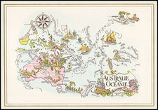 Australia & Oceania, Australia and Oceania Map By Pan American World Airways / Jacques  Liozu