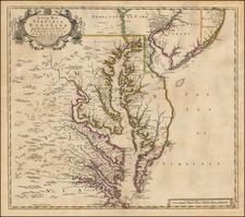 Mid-Atlantic, New Jersey, Pennsylvania, Maryland, Delaware, Southeast and Virginia Map By John Senex