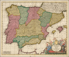 Spain and Portugal Map By Gerard Valk