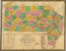 Mid-Atlantic and Pennsylvania Map By Samuel Augustus Mitchell