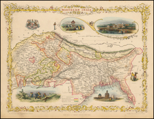 India and Central Asia & Caucasus Map By John Tallis