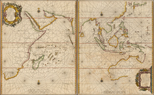 Indian Ocean, China, Japan, Korea, India, Philippines, Other Islands, Central Asia & Caucasus, Middle East, South Africa, East Africa and Australia Map By Jacob and Caspar Lootsman (Jacobsz)