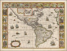 North America and America Map By Willem Janszoon Blaeu