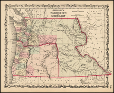 Rocky Mountains, Idaho and Oregon Map By Alvin Jewett Johnson  &  Browning