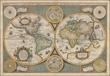 World and World Map By Jodocus Hondius  &  Pierre Mariette
