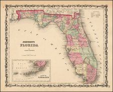 Florida Map By Alvin Jewett Johnson  &  Browning