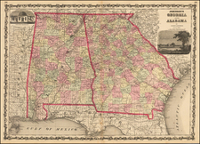South and Southeast Map By Alvin Jewett Johnson  &  Browning