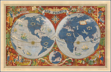 World, World, Atlantic Ocean, Europe, Europe, Asia, Asia, Africa and Africa Map By Lucien Boucher