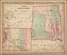 Plains, North Dakota, South Dakota, Rocky Mountains and Wyoming Map By G.W.  & C.B. Colton