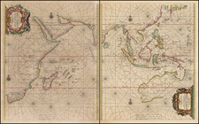 Indian Ocean, China, India, Philippines, Middle East, South Africa, East Africa and Australia Map By Hendrick Doncker