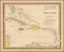 Southeast and Caribbean Map By Samuel Augustus Mitchell