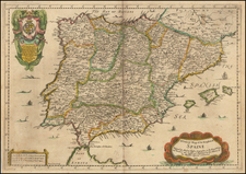 Spain and Portugal Map By Richard Blome