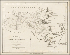 New England and Massachusetts Map By John Stockdale