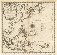 China, Japan, Korea, Southeast Asia and Philippines Map By Jacques Nicolas Bellin