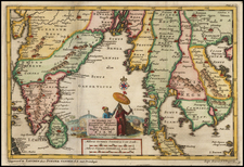 India and Thailand, Cambodia, Vietnam Map By Pieter van der Aa