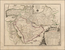 Central Asia & Caucasus, Middle East, Arabian Peninsula, Persia & Iraq, Turkey & Asia Minor and Egypt Map By Nicolas de Fer / Guillaume Danet