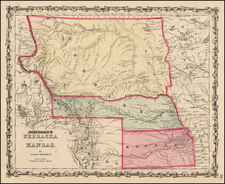 Plains, Nebraska, North Dakota and Rocky Mountains Map By Alvin Jewett Johnson  &  Browning