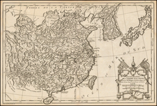 China and Korea Map By Etienne-Andre Philippe  De Pretot
