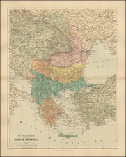 Balkans, Greece, Turkey and Turkey & Asia Minor Map By Edward Stanford