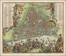 Netherlands Map By Carel Allard / Adriaen Schoonebeek