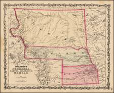Plains and Rocky Mountains Map By Alvin Jewett Johnson  &  Browning