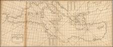 Mediterranean Map By John Senex / Edmund Halley / Nathaniel Cutler