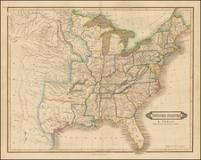 United States and Texas Map By William Home Lizars
