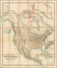 United States and North America Map By W. & A.K. Johnston