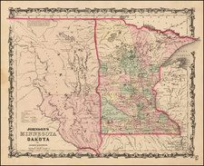 Midwest and Plains Map By Alvin Jewett Johnson  &  Browning