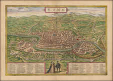 Rome Map By Georg Braun  &  Frans Hogenberg