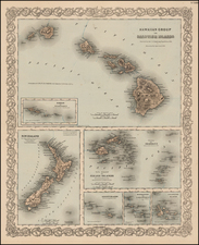 Hawaii, Hawaii and Other Pacific Islands Map By Joseph Hutchins Colton