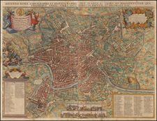 Italy and Rome Map By Jacob Sandrart / Giovanni Battista  Falda